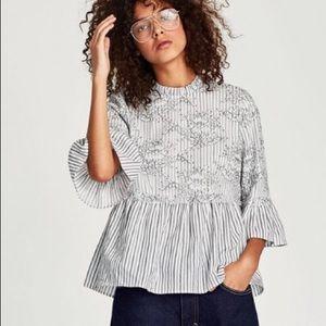 Zara woman black white striped lace blouse!